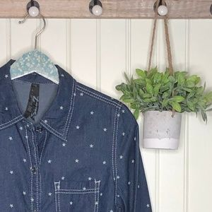 Seven7 Chambray Stars Tie Front Shirt Small NWT